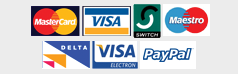 Pay with Paypal, Mastercard, Visa, Swith, Maestro, Delta, Electron